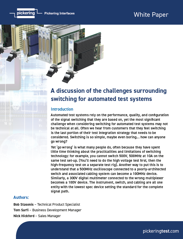White paper: The Challenges Surrounding Switching for Automated Test Systems