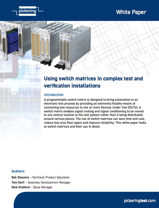 Whitepaper: Using Switch Matrices in Complex Test and Verification Installations